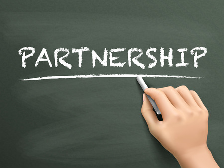 participation: partnership word written by hand on blackboard