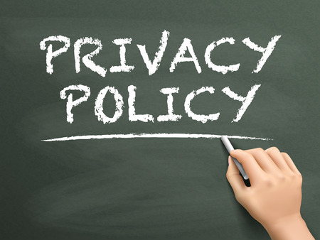 secret privacy: privacy policy words written by hand on blackboard