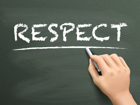 honorable: respect word written by hand on blackboard