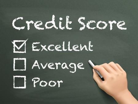 credit score: credit score survey written by hand on blackboard
