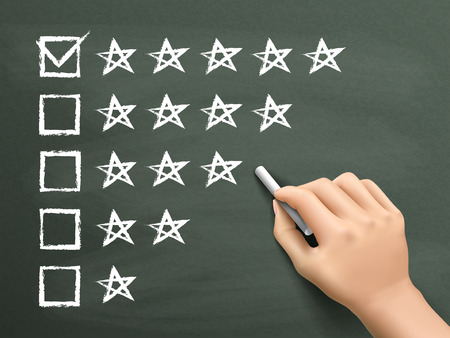 check box: hand putting check mark with chalk on five star rating