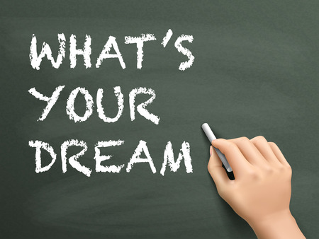 what is your dream words written by hand on blackboard