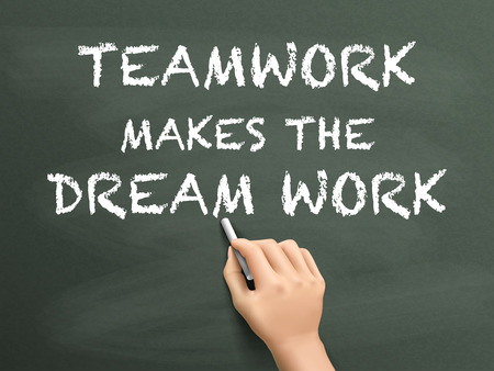 hand written: teamwork makes the dream work written by hand isolated on blackboard