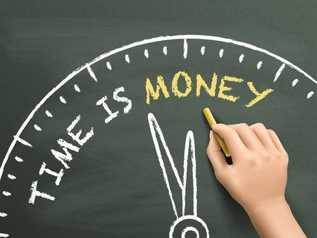 time is money: time is money written by hand on blackboard