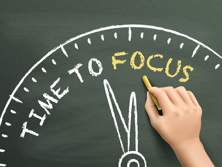 distinctness: time to focus written by hand on blackboard Illustration