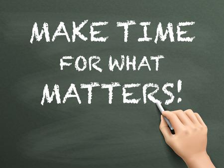 conciencia moral: hacer tiempo para lo que importa escrita a mano en la pizarra
