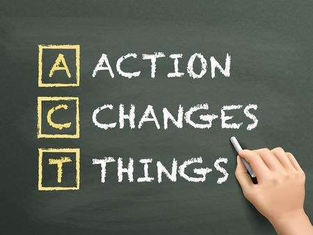 progressive: Action Changes Things written by hand on blackboard