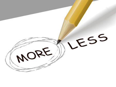 less: choosing more instead of less with a pencil over white paper Illustration