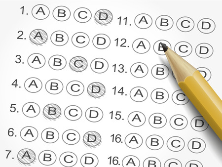 exam: multiple choice answer sheet or customer service satisfaction survey with pencil