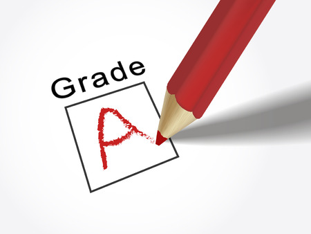 grades: grade A on exam paper with red pencil