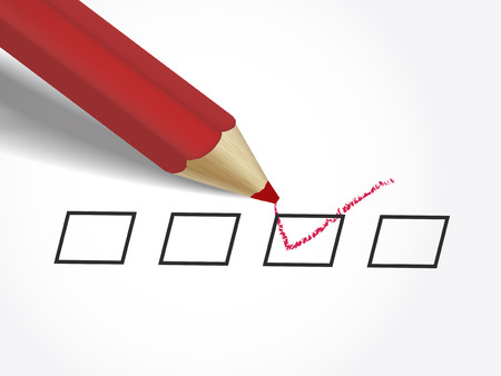 close-up look at red pen marking on the check box over white paper Vector