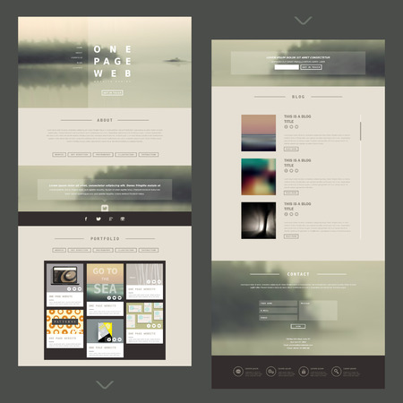 one page website template design with blurred background 일러스트