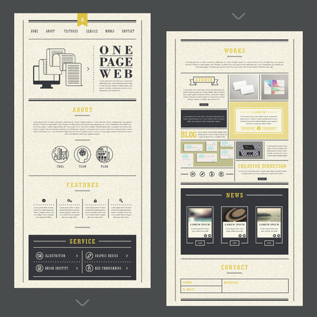 page layout: retro one page website template design with paper texture