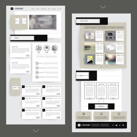 골판지 요소와 합성 한 페이지 웹 사이트 템플릿 디자인
