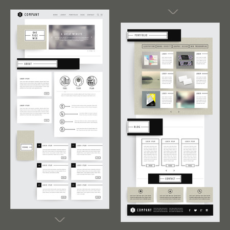 website template: collage one page website template design with corrugated paper elements Illustration