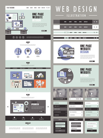 one page website template design in flat design