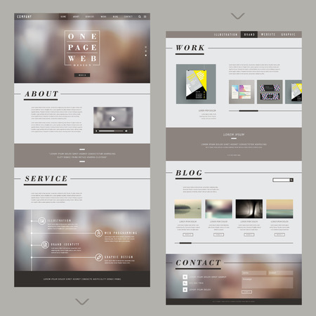 website: one page website template design with blurred background Illustration