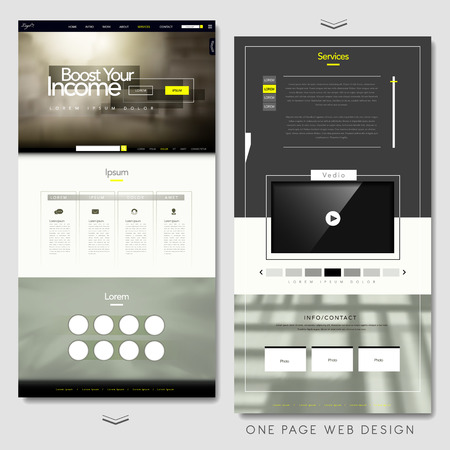 template frame: one page website template design with blurred background Illustration