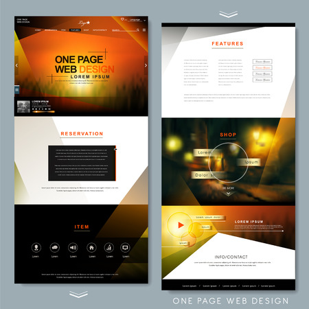 page layout: modern one page website template design with blurred background Illustration