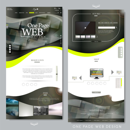 kit design: one page website template design in technical style