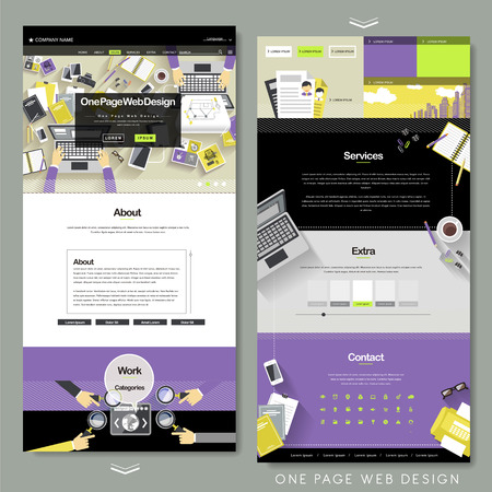 internet button: flat one page website template with workplace concept