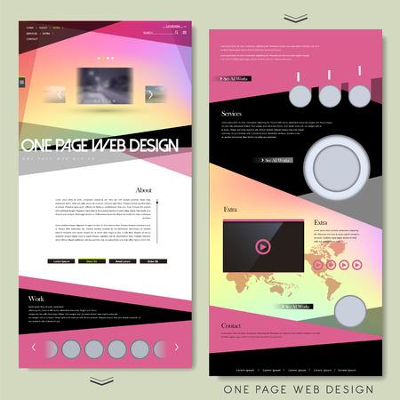 ピンクでモダンな 1 つのページ web サイト テンプレート デザイン