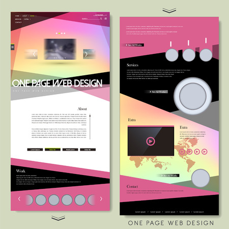 modern one page website template design in pink
