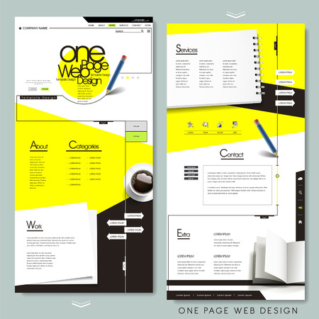 one page website template design with stationery concept
