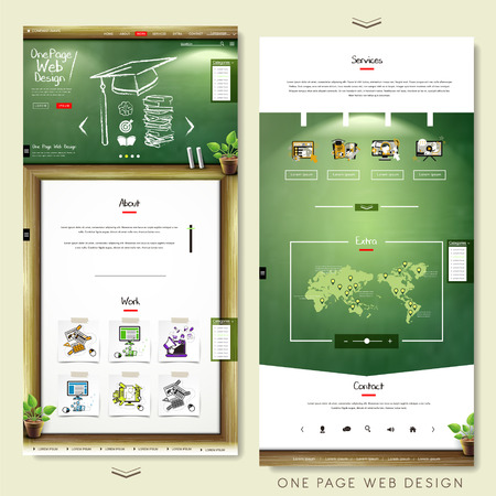 one page website template design with education concept Illustration