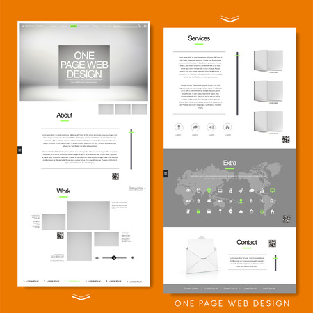 kit design: minimalist one page website template design in white and grey
