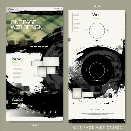 書道のスタイルで 1 つのページ web サイト テンプレート デザイン  イラスト・ベクター素材