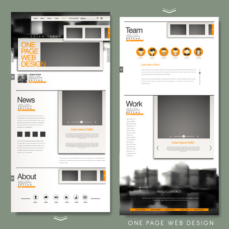 kit design: one page website template design with blurred background Illustration