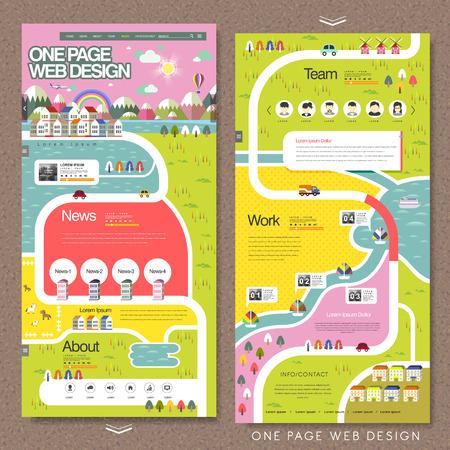 mooie één pagina website template in platte ontwerp