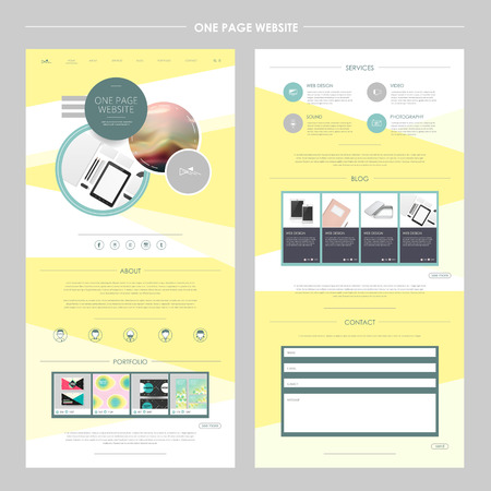 product display: geometrical one page website template design in yellow Illustration