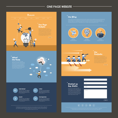 one page website template design with teamwork concept Illustration