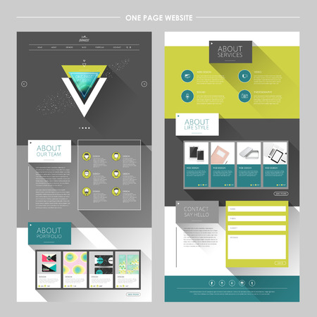 page layout: modern geometric one page website template with long shadows