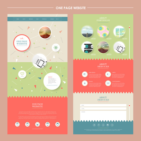 lovely one page website template in flat design Ilustração