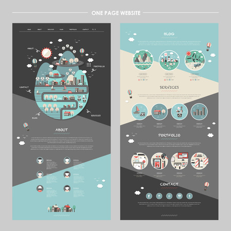 website header: lovely one page website template with planet element in flat design Illustration