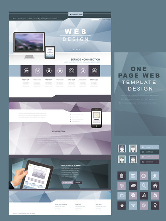 internet button: geometric style one page website template design