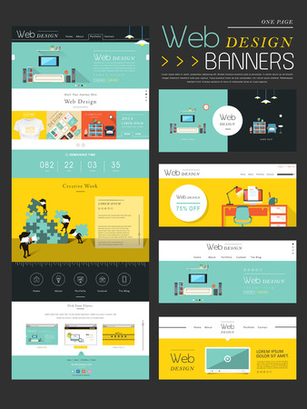 website icons: flat style one page website template design with workplace concept Illustration