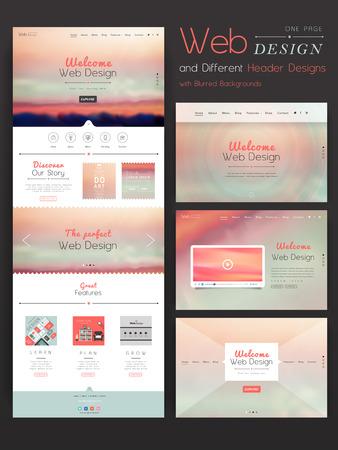 Romántico una página de diseño plantilla de página web con el fondo borroso Foto de archivo - 34176208