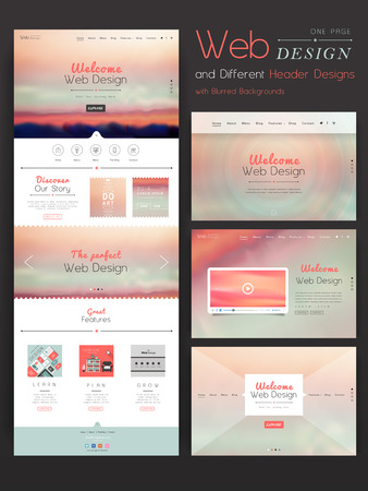 romantic one page website template design with blurred background Illustration