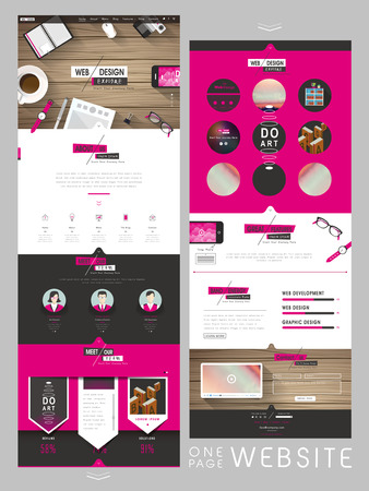 flat style one page website template design in pink