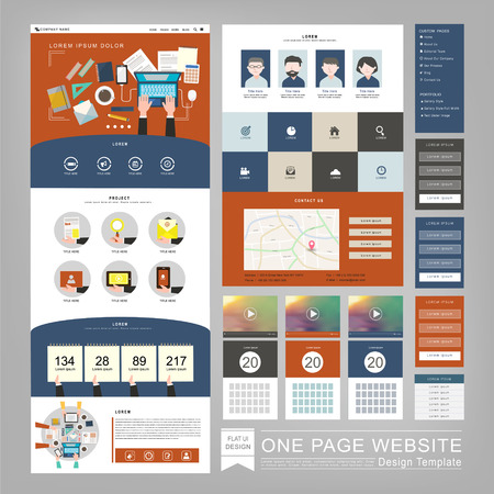 flat style one page website template design with workplace concept Illustration