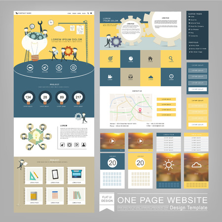 flat style one page website template design with teamwork concept