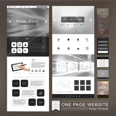 sjabloon: één pagina website template ontwerp in een onscherpe achtergrond Stock Illustratie