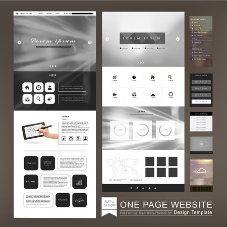 design frame: one page website template design in blurred background
