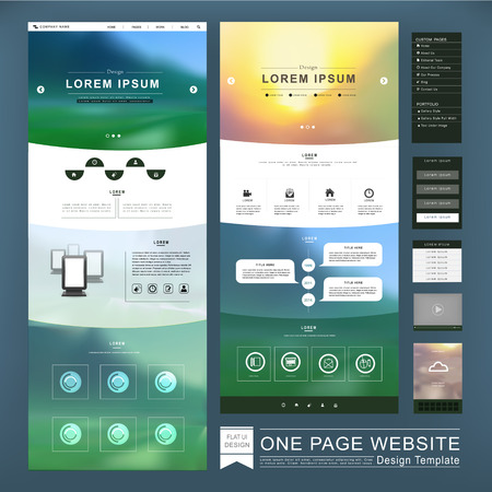 website: one page website template design in blurred background