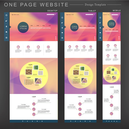 web template: romantic one page website template design with blurred background Illustration