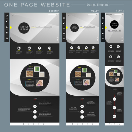 internet button: modern one page website template design in geometric style